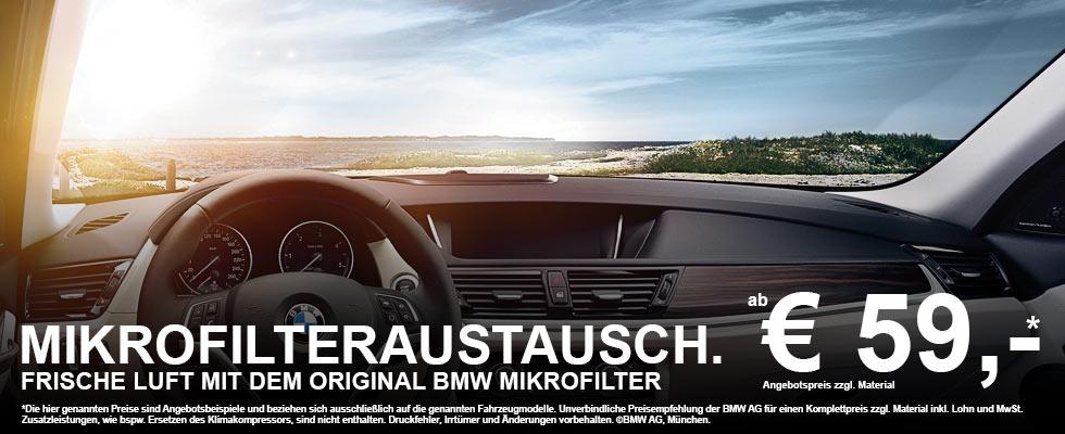 BMW Mikrofilter - BMW Service Mikrofilteraustausch & Wartung